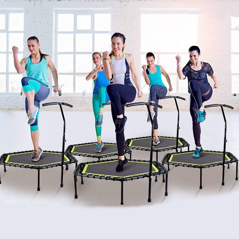 48 Inch Hexagonal Muted Fitness Trampoline with Adjustable Handrail for Indoor GYM Jump Sports Adults Kids Safety 1