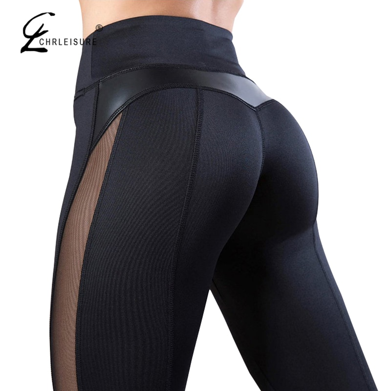 Solid High Waist Fitness Legging Women Heart Workout Leggins Femme Fashion Mesh And PU Leather Patchwork Leggings 1