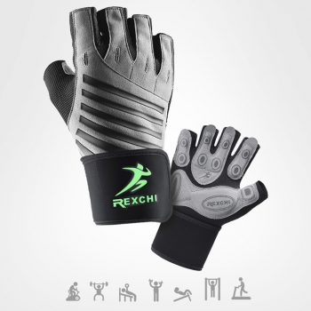 Gym Fitness Half Finger Gloves with Wrist Wrap Support Men Women Crossfit Workout Gloves Power Weight Lifting Equipment 8