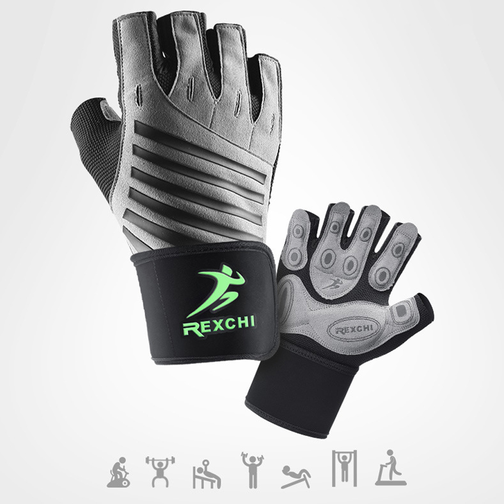 Gym Fitness Half Finger Gloves with Wrist Wrap Support Men Women Crossfit Workout Gloves Power Weight Lifting Equipment 3