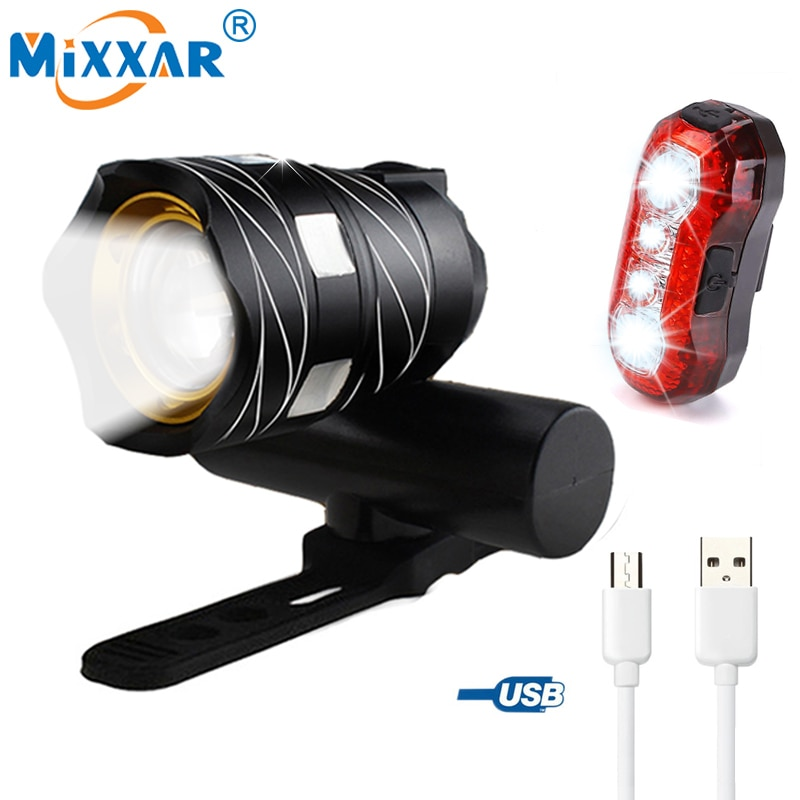 Light Bike Front Lamp Outdoor Zoomable, Torch Headlight USB Rechargeable Built-in Battery 15000LM 1