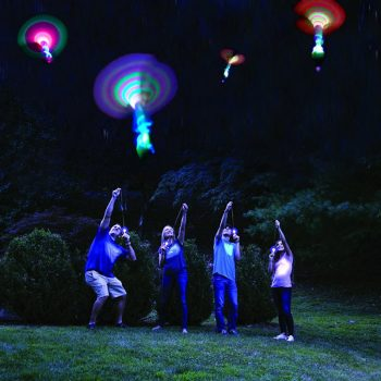 Bamboo Dragonfly with light Shooting Rocket Flying parachute Sky UFO Outdoor night game toy for kid children with LED slingshot